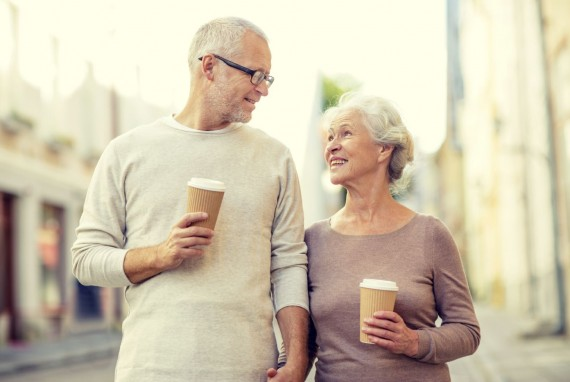 Retiree Couple with Coffee
