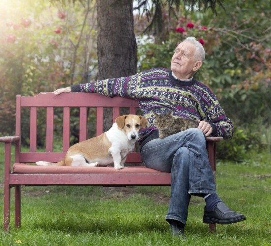 Retired Man with Dog & Cat iStock