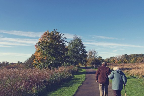 Older Couple Walking the path